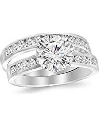 2.71 CTW Classic Channel Set Wedding Set Bridal Band & Diamond Engagement Ring w/ 2.01 Ct GIA Certified Round Cut E Color SI1 Clarity Center