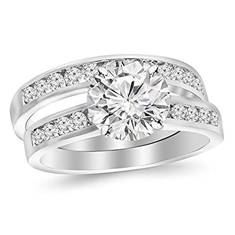 1.33 Cttw 14K White Gold Round Cut Classic Channel Set Wedding Set Bridal Band & Diamond Engagement Ring with a 0.63 Carat I-J Color I2 Clarity - 14k Gold Classic Wedding Band