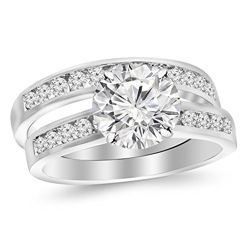14K White Gold 2.2 CTW Round Cut Classic Channel Set Wedding Set Bridal Band & Diamond Engagement Ring, J Color I1 Clarity, 1.5 Ct Center - Band Round Diamond Engagement Ring