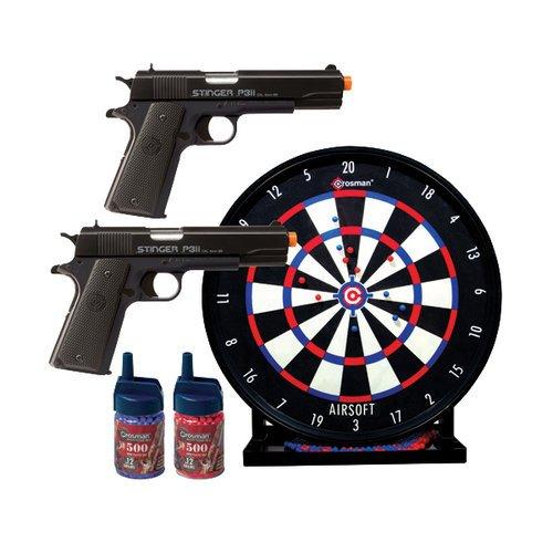 GameFace ASP311BDK Kit de pistola Airsoft de disparo único con resorte con 2 pistolas, objetivo y municiones, negro