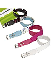 BMC Girls 4pc Flower And Star Adjustable Elastic Band With Leather Loop Belt Set