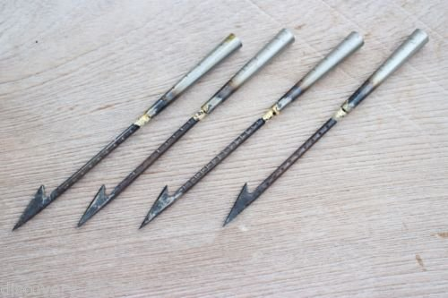 4x Spear Harpoon Hunting Fish Bowfishing Archery Arrowhead Broadhead Survival Camping Vintage Asia Handmade