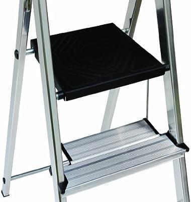 Escalera escalera escalera de aluminio HYMER – Escalera 4 escalones, incluye escalón aumentado y plataforma: Amazon.es: Bricolaje y herramientas