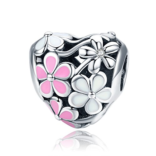 BAMOER Daisy Flower Charm 925 Sterling Silver Spring Pink Flower Heart Charms Beads DIY Charm Bracelet Kit for - Sterling Flower Silver Charm