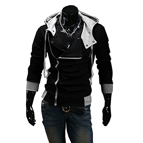 Generic New Fashion Men's Casual Cosplay Costume Hoodie Cardigan Coat Jackets Black X-Large (Assassins Creed 2 Costume)