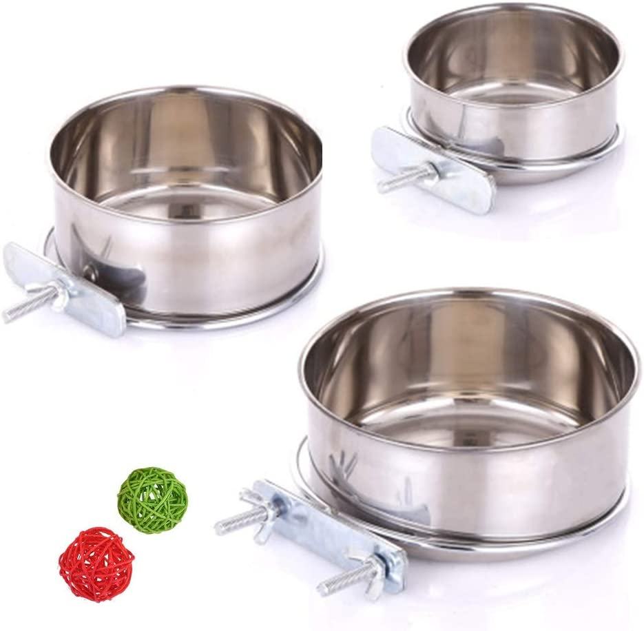 3 Pack Bird Feeder Bowl, Stainless Steel Parrot Feeding Cups with Clamp Holder, Cage Water Food Dish for Parakeet Lovebird Conure Cockatiels