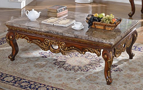 Meridian Furniture 223-C Loretto Solid Wood Coffee Table with Traditional Handcrafted Designs and Genuine Marble Top, 55.5