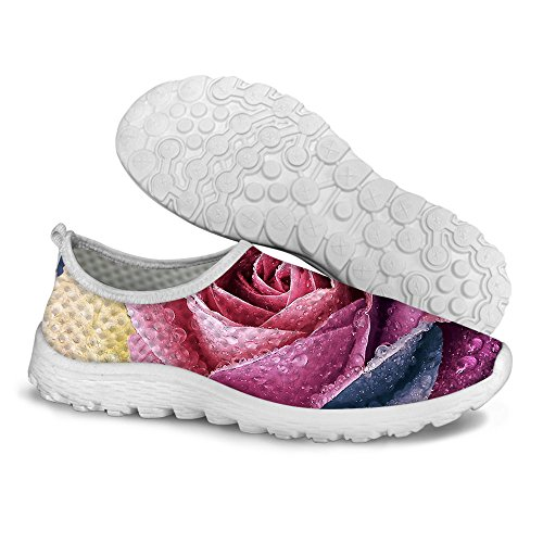 B Walking Running U FOR Comfortable Womens Casual Shoes Mesh Stylish Floral Pattern DESIGNS Red zOvzwqU