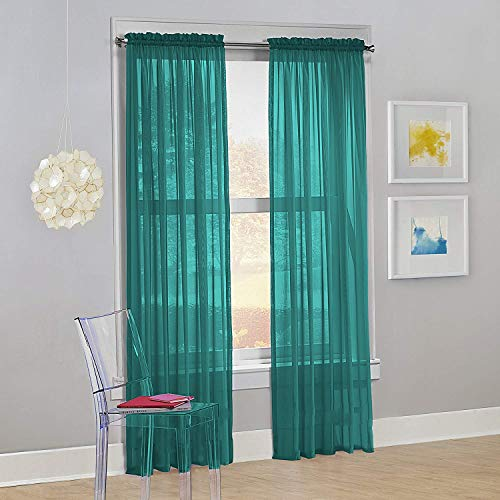 "Decotex Set of 2 Sheer Voile Transparent Window Panel Curtain Drapes (54"" W X 63"" L, Teal)"