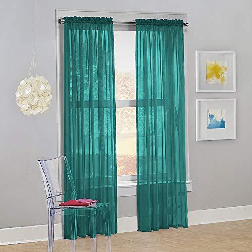 "Decotex Set of 2 Sheer Voile Transparent Window Panel Curtain Drapes (54"" W X 84"" L, Teal)"