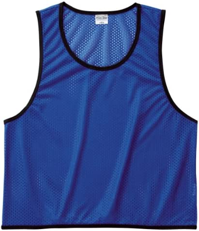スポーツ、イベント、スクール、体育など さまざまな用途に使える メッシュ ピブス (ベスト型ゼッケン) ブルー Jr.L
