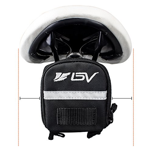 BV Bicycle Strap On Saddle Bag, Inside Mesh Pocket Bike Seat Bag