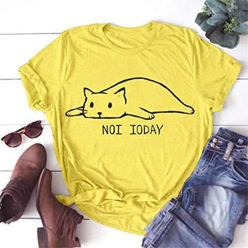 wodceeke Womens Cute Cat Printed Casual Short Sleeve Cotton O-Neck Tees Shirt(Yellow,XL) by wodceeke (Image #1)