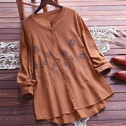 Tops Shirt Unie Marron Taille Grande Femme Casual Chic Blouse Longue Manche Broderie Sexy Chemisier T Loose Mode Couleur TC68wq4xaC