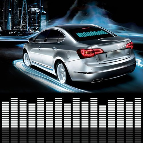 - DIYAH Auto Sound Music Beat Activated Car Stickers Equalizer Glow LED Light Audio Voice Rhythm Lamp 70cm X 16cm / 27.5in X 6.3in (Blue)
