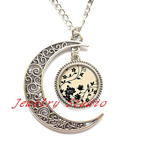 Black & White Swirling Dome - Black Swirling Flowers Necklace, Flower Pendant, Flower Jewelry, Flower Pendant Charm, Black and White Jewelry, Flower Necklace charm-HZ00339