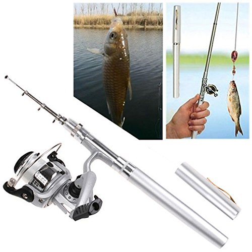 Hde pocket size pen shaped collapsible fishing rod pole for Fishing rod pen