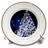 3dRose Christmas Xmas Tree with Blue Colors and Snow Style Plate, 8''