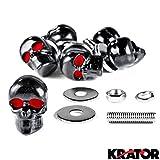 Krator® Motorcycle 6 x Skull Black Bolts - Custom Black Motorcycle Bolts used for License Plate bolts, Windshield bolts and any 6mm thread, fits HONDA YAMAHA KAWASAKI SUZUKI HARLEY CRUISERS MOTORCYCLE