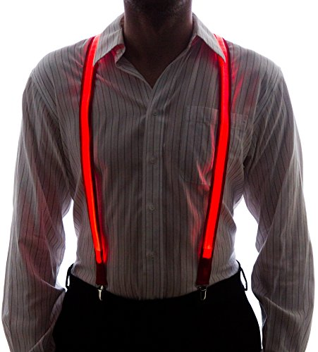 Neon Nightlife Men's Light Up LED Suspenders, One Size, Red (Halloween Rave)