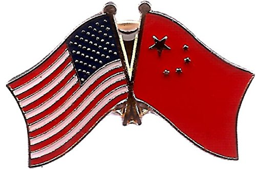 PACK of 50 China & US Crossed Double Flag Lapel Pins, Chinese & American Friendship Pin Badge