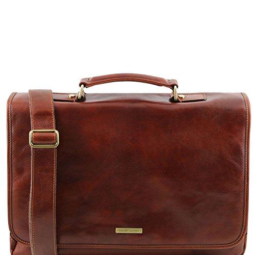 Tuscany Leather Mantova - Portafolio TL SMART multiples compartimientos en piel y solapa - TL141450 (Negro) Marrón