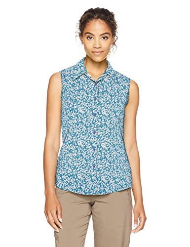 White Sierra Gobi Desert Printed Sleeveless Shirt, Provence Blue, Small