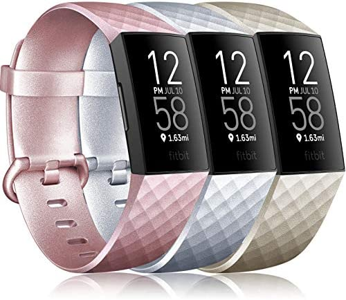 Wanme Pack 3 Compatibel voor Fitbit Charge 3 StrapFitbit Charge 4 Strap Verstelbare Vervanging Sport Accessoire Polsband voor Fitbit Charge 3Charge 4