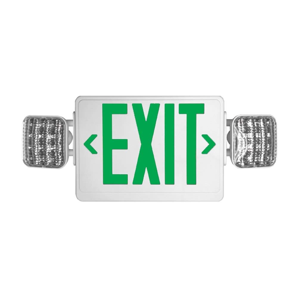 LED exit illumination with reliable LED lamp heads (12 ultra-bright LEDS on each head) Durable thermoplastic, Includes two face plates, GREEN letter and WHITE body by Lime lighting