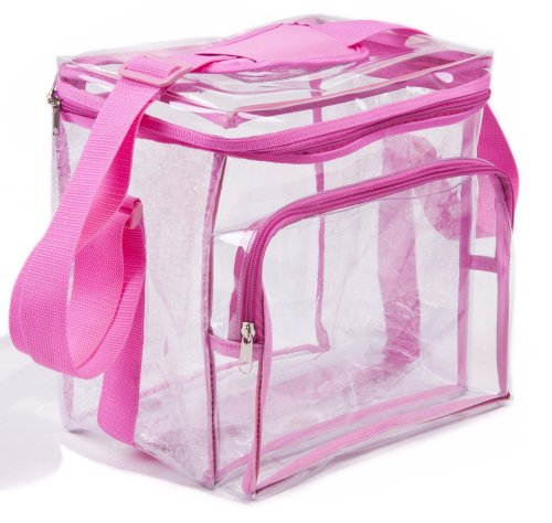 Vinyl Lunch (Industrial Grade Clear Lunch Tote Bag for Work - Freeze Proof - Certified Lead-Free - Pink - Bottom Strap for Maximum Support and Durability (Pink, Large: 11.5