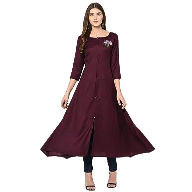 c05272428 Kalyani Women's Maroon Rayon Print Kurti Long (M to 3XL): Amazon.in ...