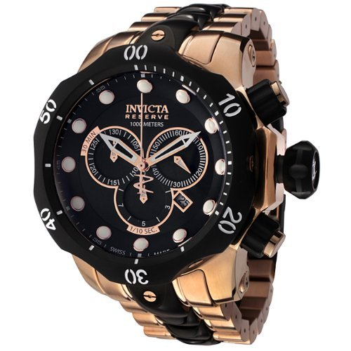 Invicta Men's 5728 Reserve Collection Black Ion-Plated and Rose Gold-Tone Chronograph Watch ()