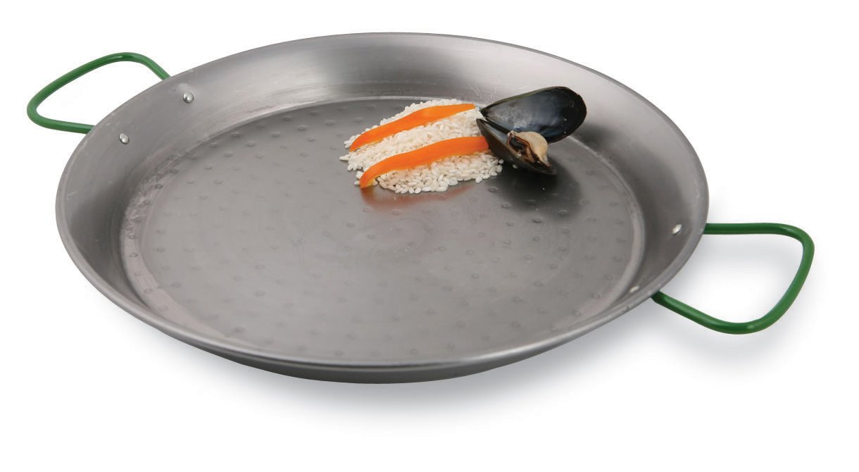 World Cuisine 35 1/2 Inch Polished Carbon Steel Paella Pan
