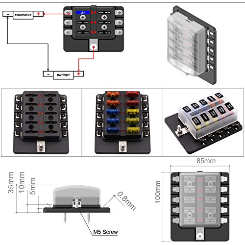 TURN RAISE 10 Way LED Warning Light ATC/ATO Blade Fuse Box Holder with Three Kind blade fuse Suit for Car Boat Marine Trike (10 WAY) by TurnRaise (Image #4)