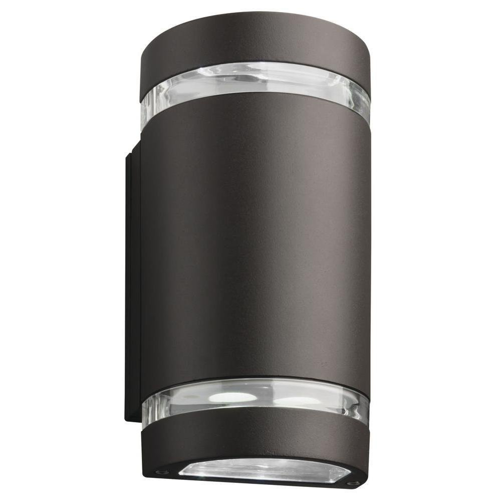 Lithonia Lighting 2-Light Wall Mount Outdoor Bronze LED Wall Cylinder Up and Downlight