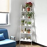 White 5-Tier Bookcase Bookshelf Leaning Wall Shelf Ladder Storage Display Furni