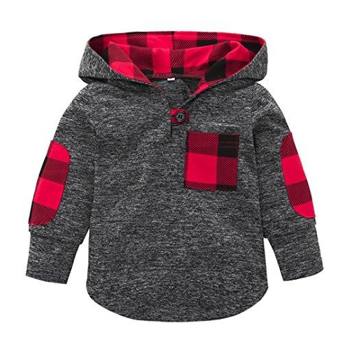 Sagton Baby Girl Boy Plaid Hoodie Pocket Sweatshirt Pullover Tops Long Sleeve (24M) ()
