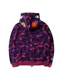 Griffith Nancy Bathing Ape Bape Shark Jaw Camo Full Zipper Hoodie Men's Sweats Coat Jacket