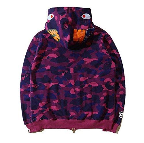 209584c75 ... Hot Bathing Ape Bape Shark Jaw Camo Full Zipper Hoodie Men's Sweats  Coat Jacket (Purple