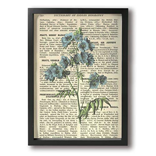 (Rolandrace Vintage Letter Blue Flowers -Picture Paintings A4 Size Wall Art Contemporary Decorative Giclee Artwork Wall Decor-Wood Frame Ready to Hang)