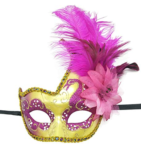 Feather Masquerade Mask Halloween Mardi Gras Cosplay Costumes Venetian Party Mask (Rose Red)