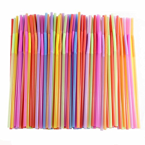 Price comparison product image Flexible Straws of 200 pieces, Kinsky Colorful Disposable Extra Long Bendable Plastic Drinking Straws