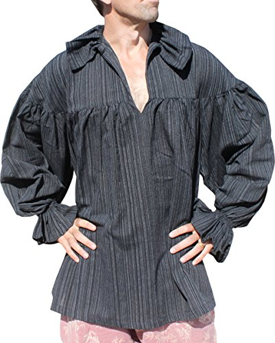 RaanPahMuang Renaissance Troubadour Wave Collar Long Sleeve Shirt in Cottons, Large, Stiped Cotton Black (Garb Clothing)