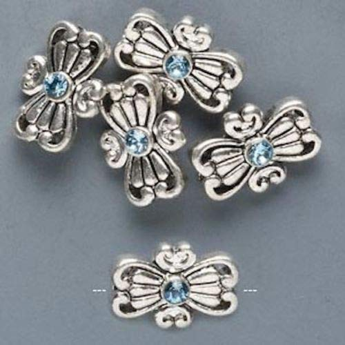 - 5 Antiqued Silver Pewter Butterfly Beads Made with Aqua Swarovski Crystals