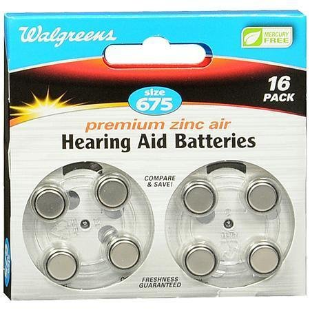 Hearing Aid Batteries, Zero Mercury #675 - 3PC