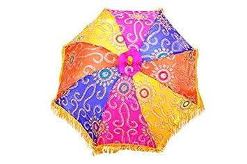 4480dea2a3457 Amazon.com: Indian Wedding Umbrella Decoration Mirror Work Vintage Parasols  Handmade embroidery Elephant Umbrella Decorations Cotton Umbrellas: Indian  Pink ...