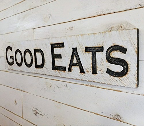 "Large GOOD EATS Sign 48""x10"" Carved Horizontal-Cypress Lumber Rustic Wood Distressed Shabby Style Decor"