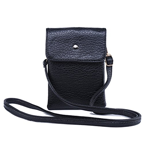 Katloo Women Premium Vegan Leather Crossbody Bag Cellphone Wallet Purse with Shoulder Strap for iPhone X 8 7 Plus 6S/6 5S 5C Samsung Galaxy S8+ S7 S6 Edge S5 (Black)