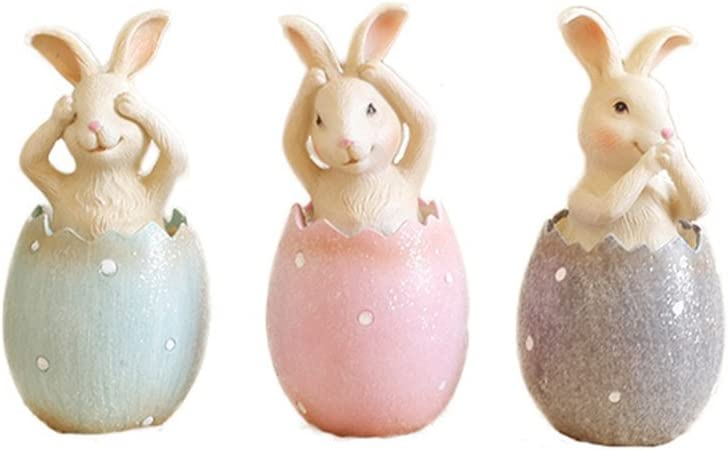 MineDecor Resin Bunny Decorations Spring Easter Decors Figurines Tabletopper Accessories for Party Home Holiday (3 Rabbits)