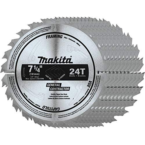 """Makita D-45989-10 7-1/4"""" 24T Carbide-Tipped Circular Saw Blade, Framing/General Purpose, 10/pk"""